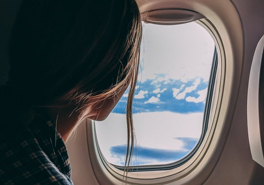 looking out a plane window
